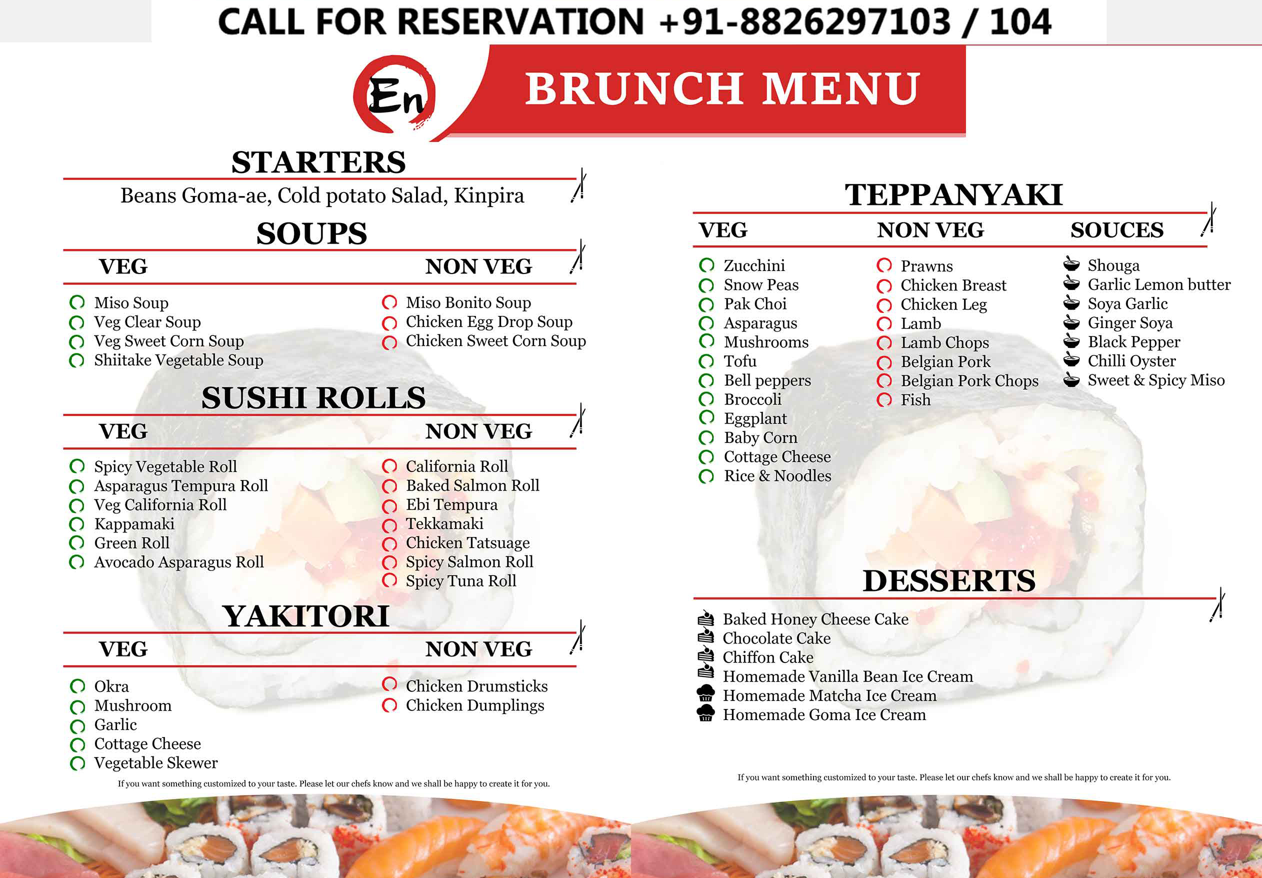 Scroll the list of sushi restaurant to get the best sushi for Best brunch menu